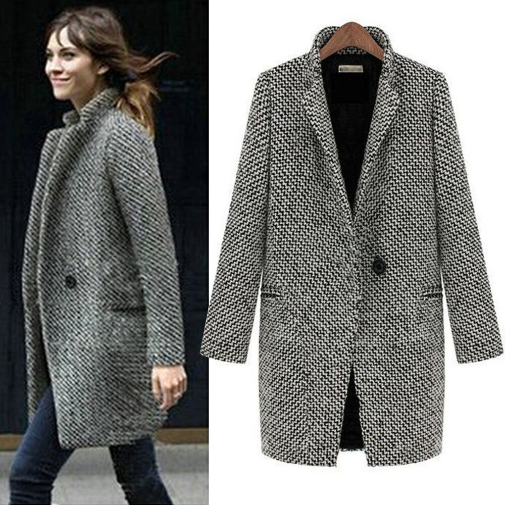 Women's Turn Down Shawl Collar Check/Grid/Black Asymmetric Hemline Wool Blend Coat