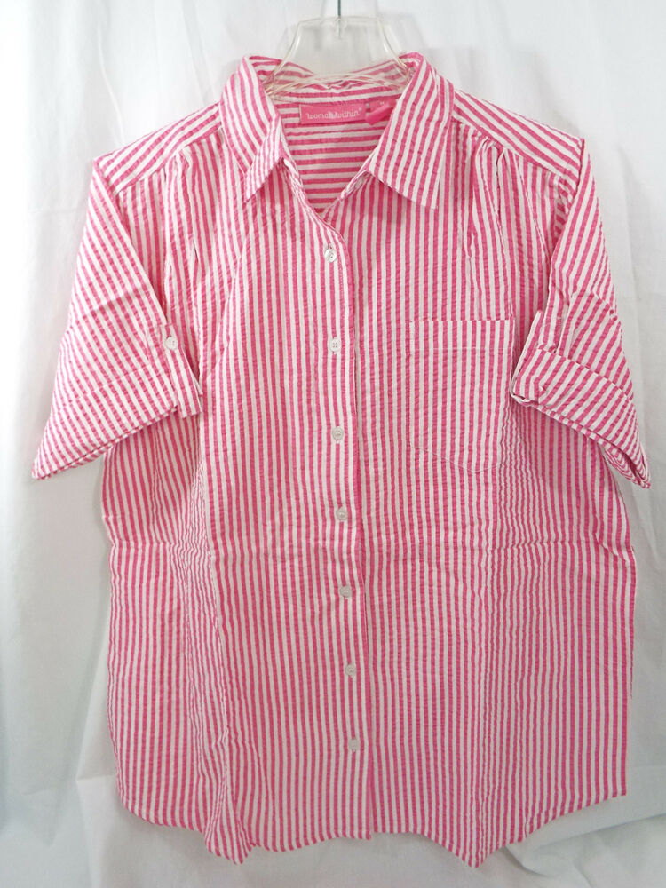 Womens Plus Size Button Down S S Seersucker Stripe Shirt