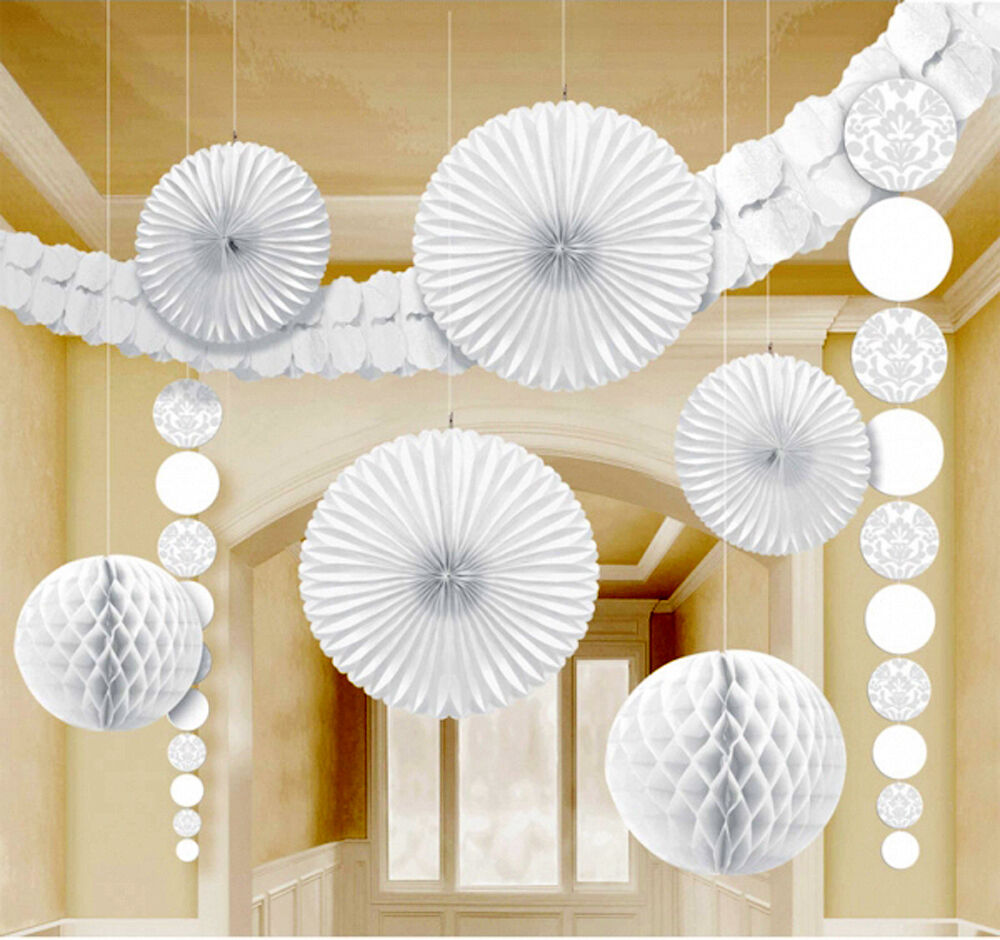 9 x white hanging paper party decorations fans honeycombs for Decoration paper