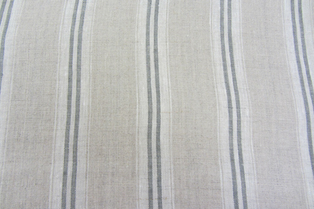 French Vintage Linen Stripe Charcoal Grey Curtain/Craft