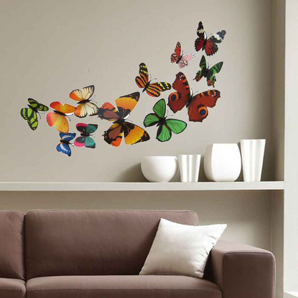 Colorful Wall Decor: 12PCS PVC Lifelike Colorful 3D Butterflies DIY Magnet Wall