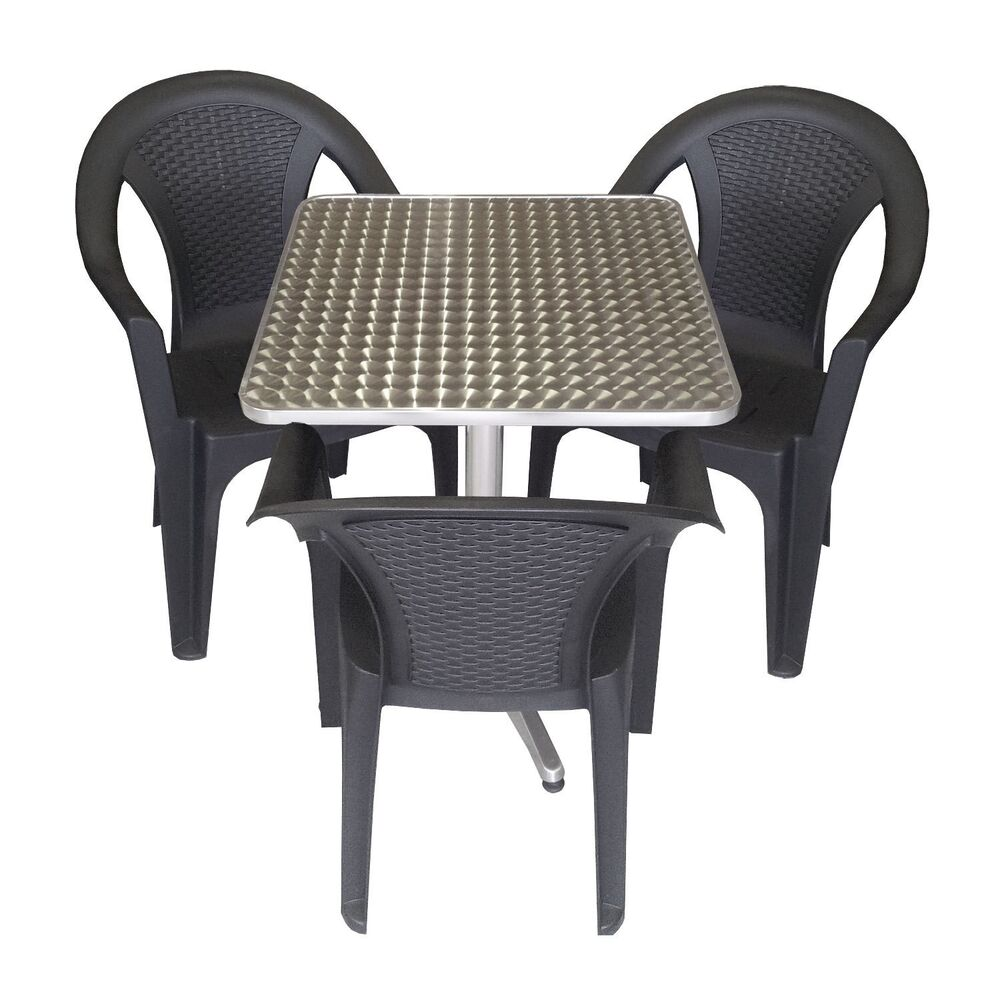 gartengarnitur balkonm bel set 60x60cm bistrotisch 3x stapelstuhl rattan look ebay. Black Bedroom Furniture Sets. Home Design Ideas