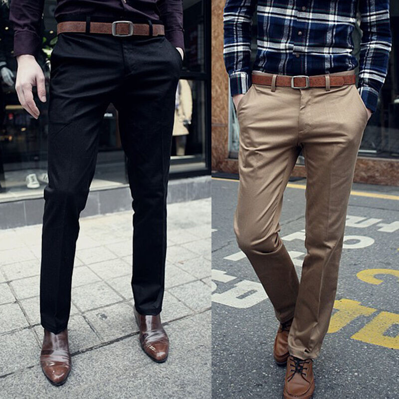 New Korean Fashion Men Slim Fit Solid Dress Pants Flat Front Slacks Trousers Ebay