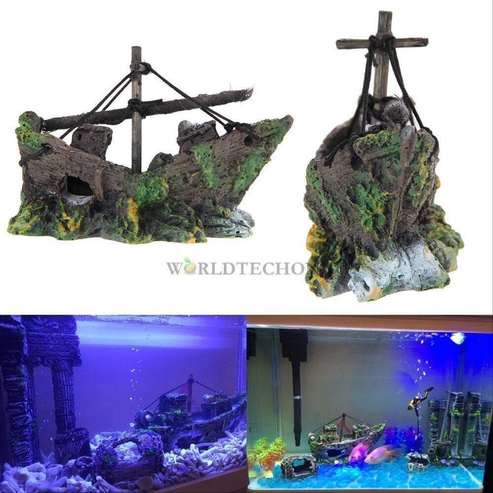 new fish tank decoration cave decor sailing boat shipwreck. Black Bedroom Furniture Sets. Home Design Ideas