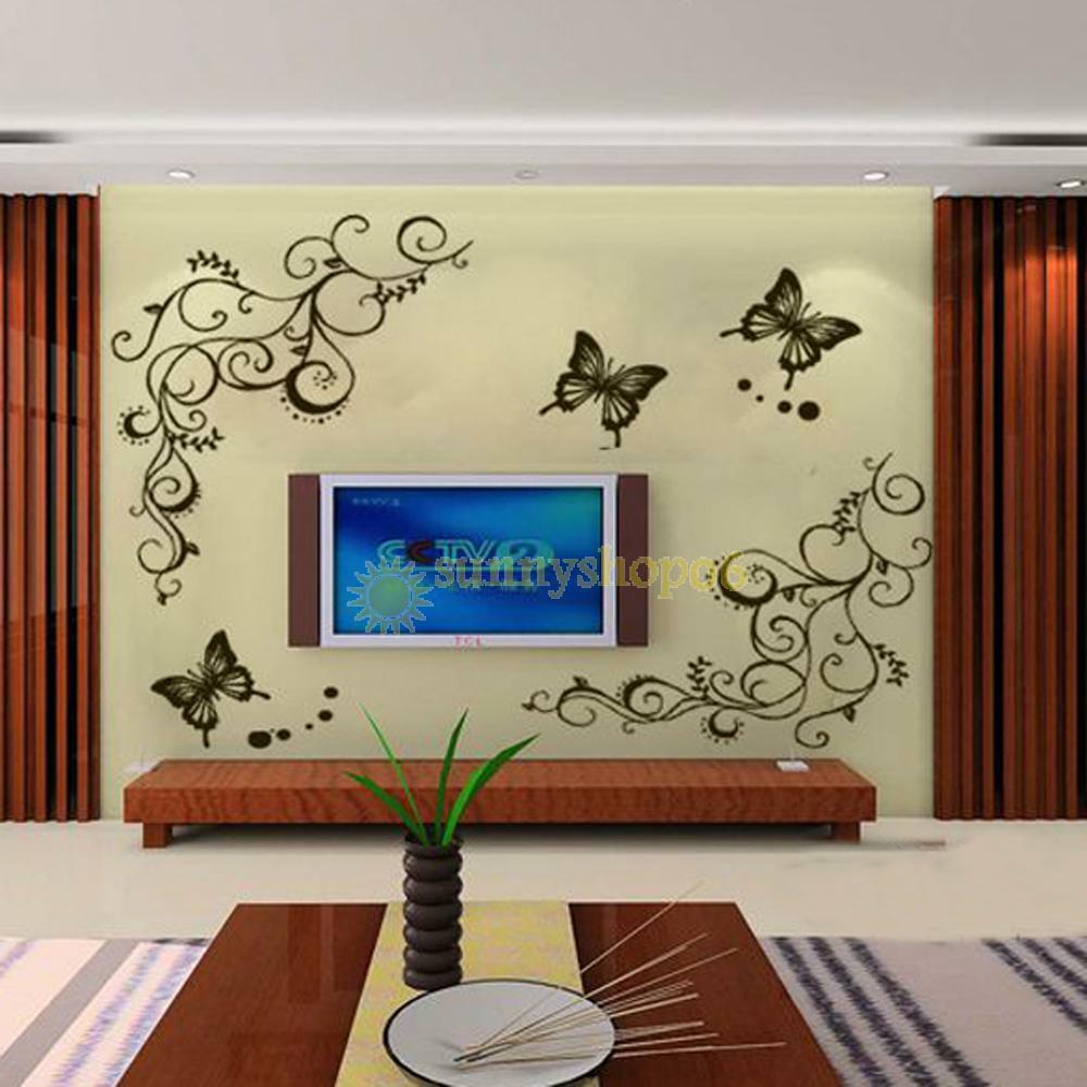 Fashional butterfly flower diy vinyl decal art mural home for Diy wall photo mural