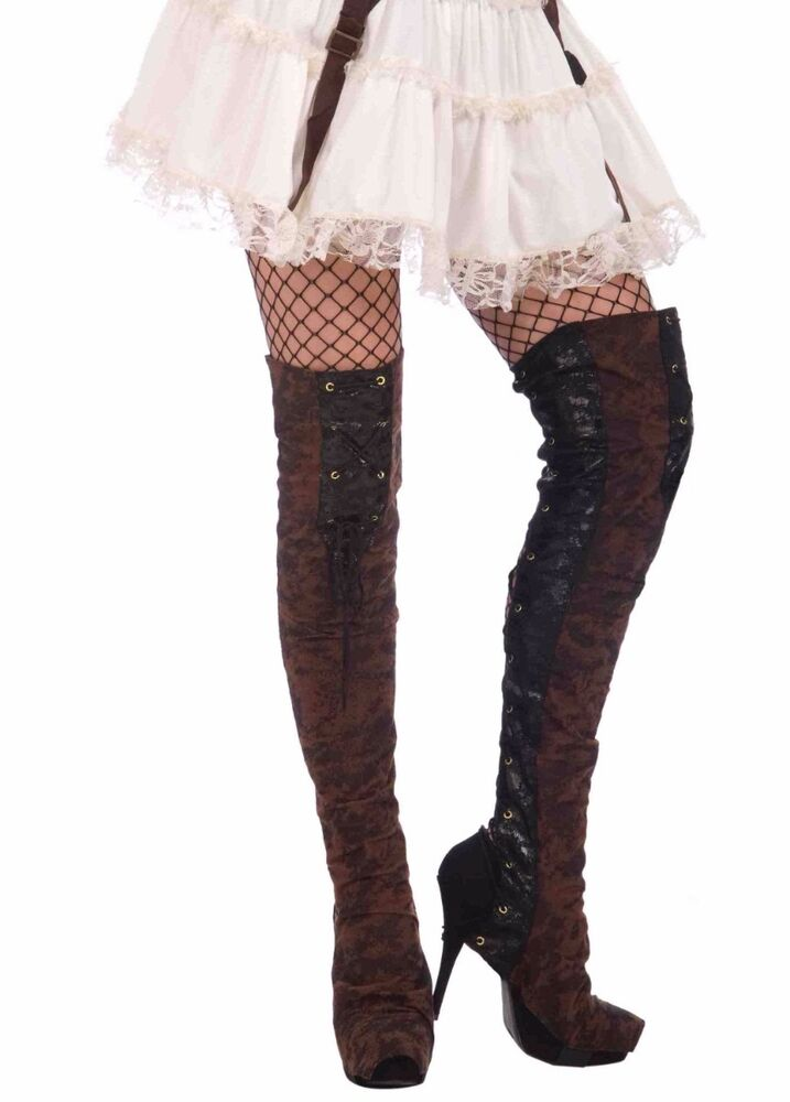 brown steampunk buckled thigh high boot tops spats steam