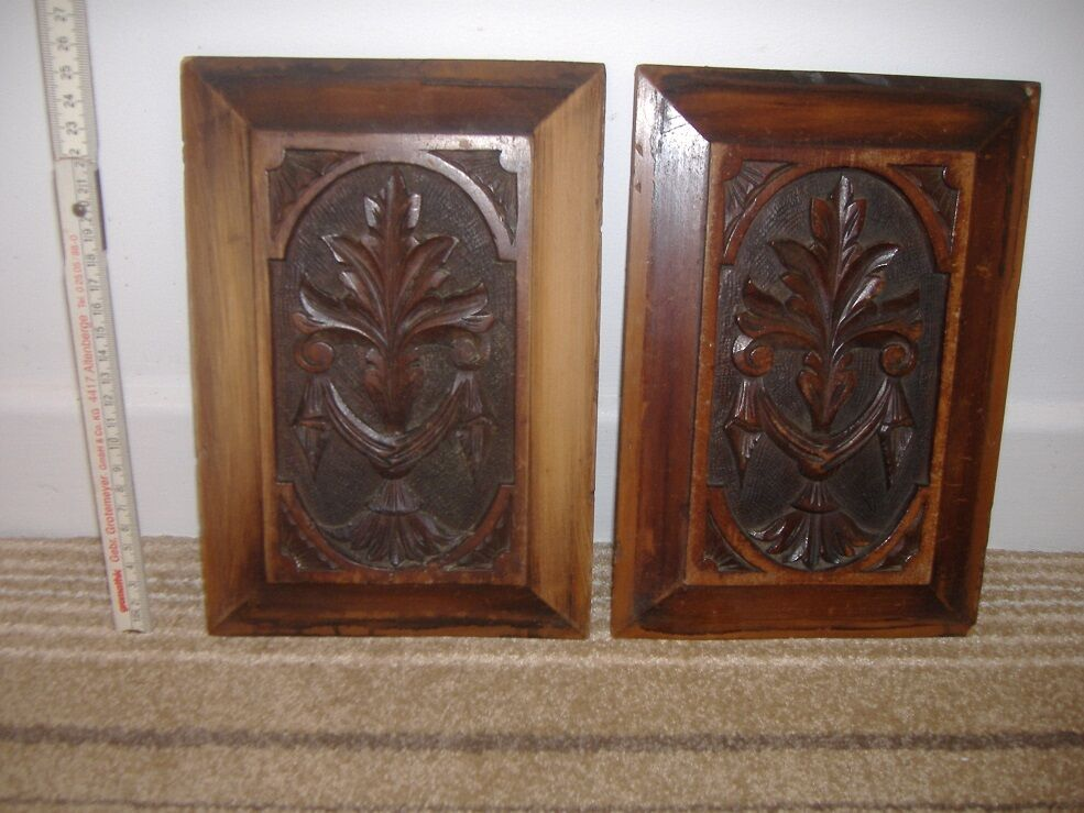 Antique Victorian Wooden Plaques Hand Carved 25cm Wooden