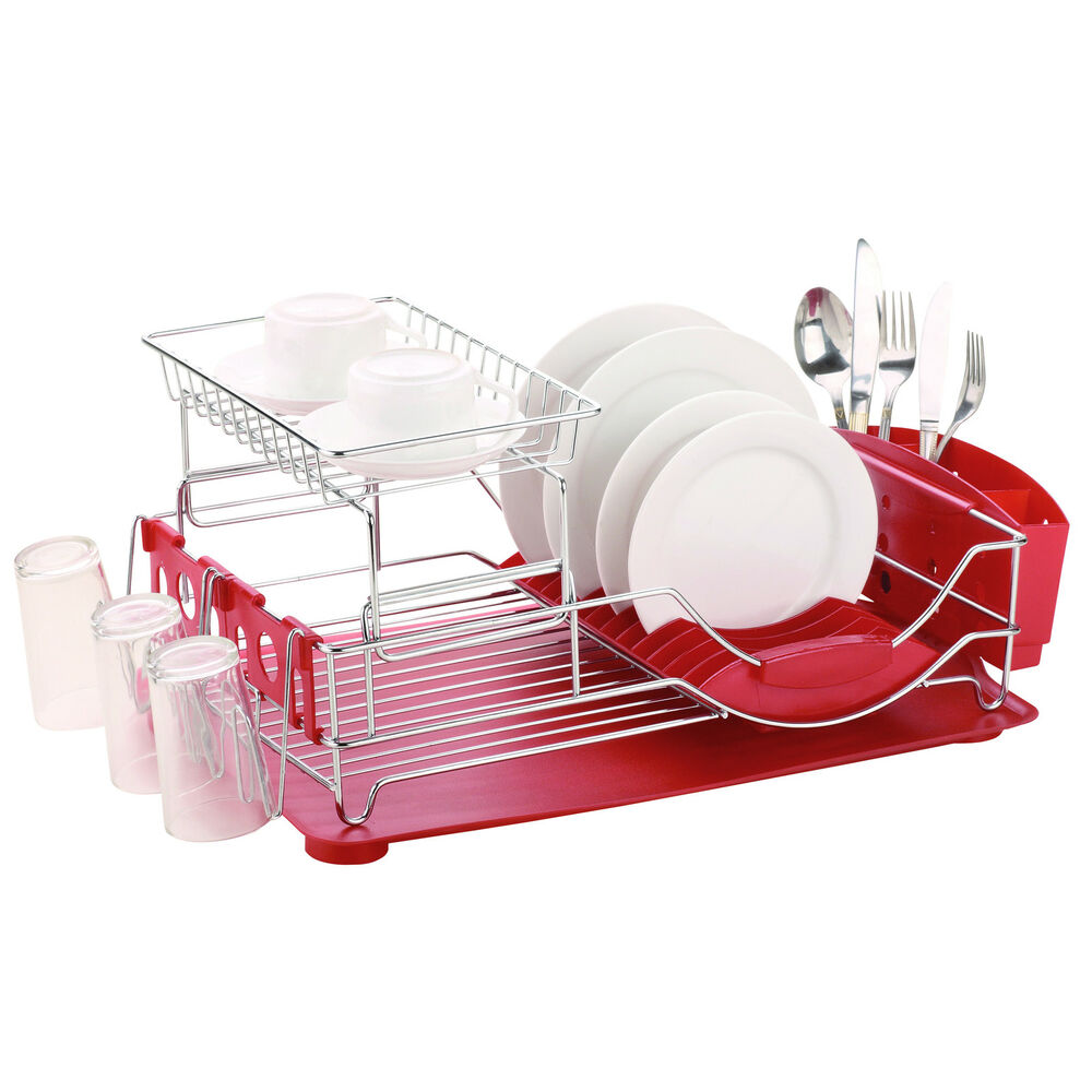home basics deluxe 2 tier dish rack drainer ebay. Black Bedroom Furniture Sets. Home Design Ideas