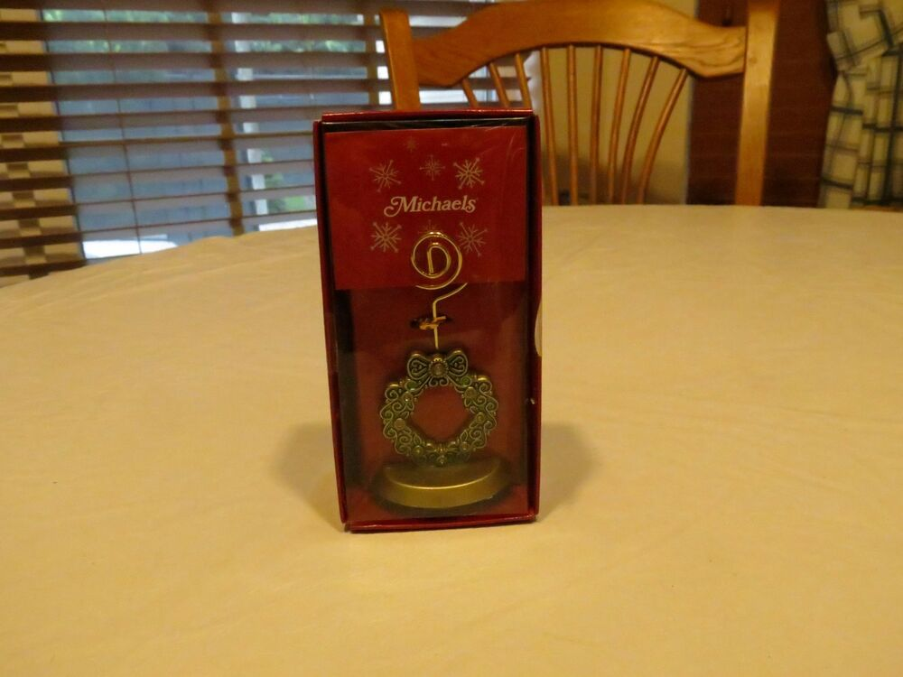 rare michaels christmas wreath card place setting stand holder decoration new ebay. Black Bedroom Furniture Sets. Home Design Ideas