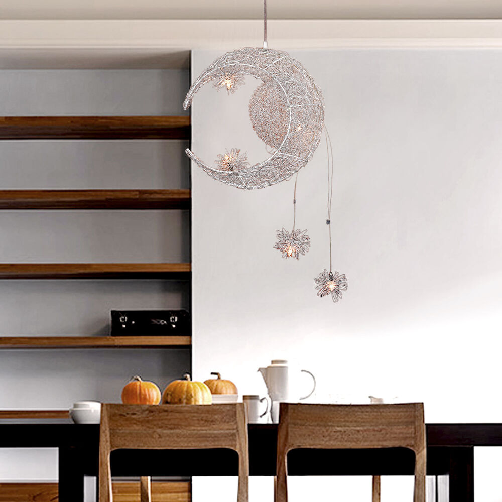 moon star children kid 39 s child bedroom pendant lamp chandelier light ceiling ebay. Black Bedroom Furniture Sets. Home Design Ideas