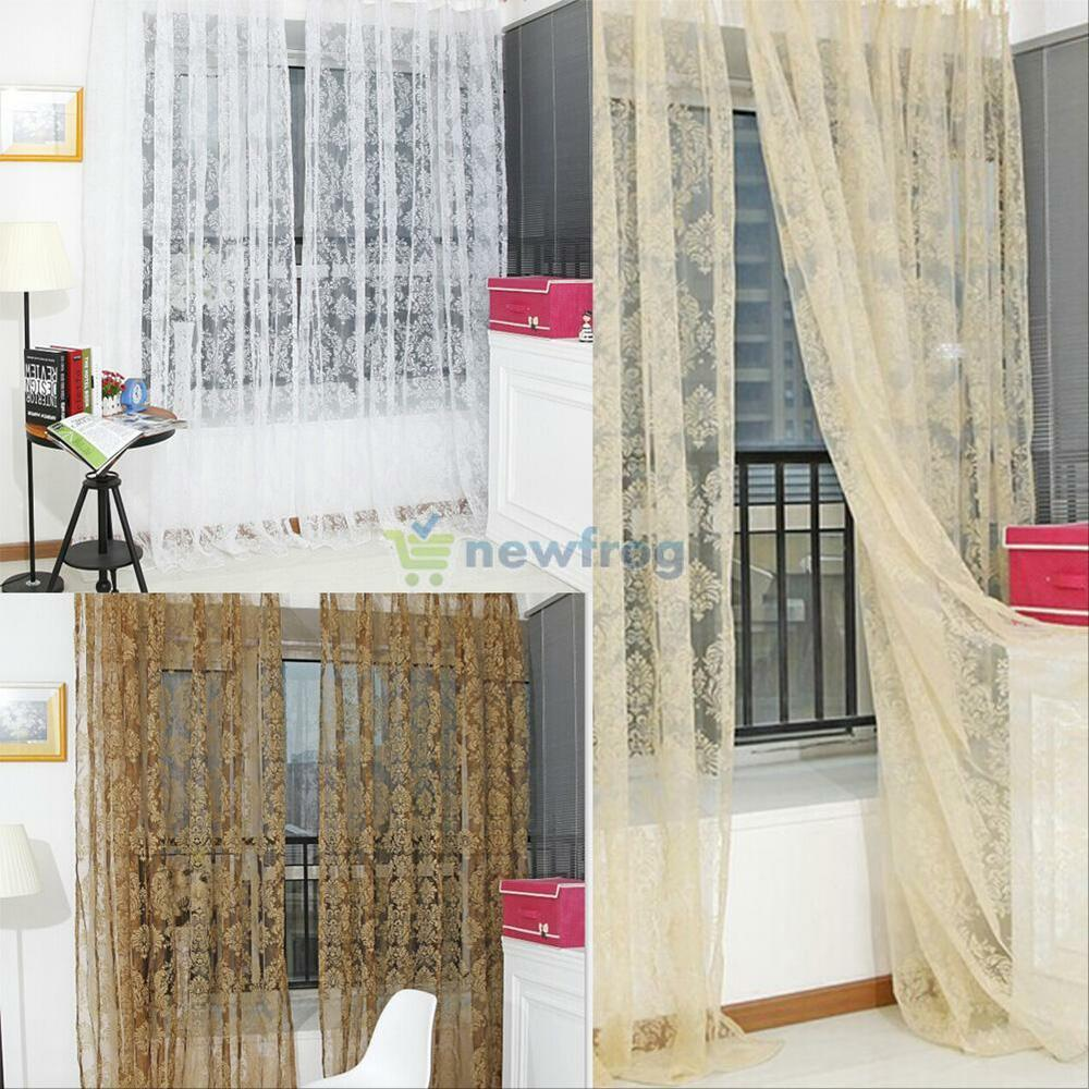 Fashion Floral Voile Door Window Curtain Dpanel Sheer Long Scarf