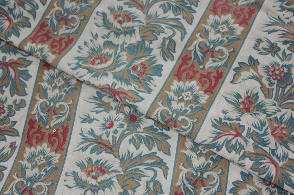Antique french arts and crafts cotton printed fabric for Fabric arts and crafts ideas