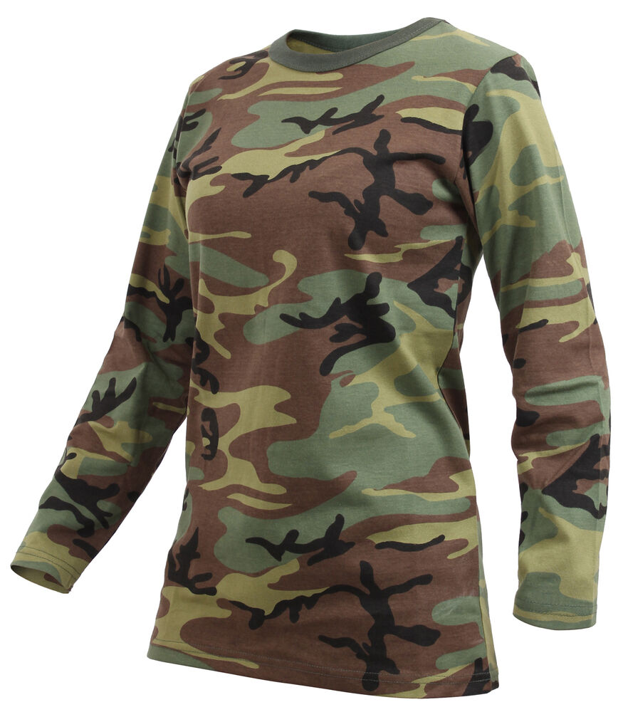 Rothco 3678 Womens Long Sleeve Camo T Shirt Woodland