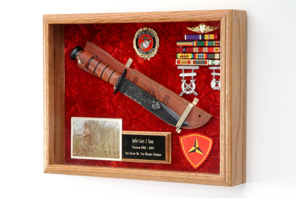 MILITARY KNIFE WOOD SHADOW BOX DISPLAY CASE MEDALS BADGES ...