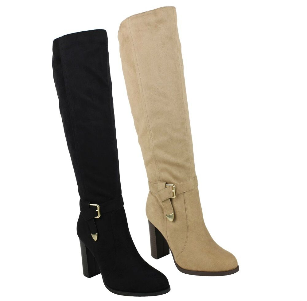 black beige suede knee high boots high heel s