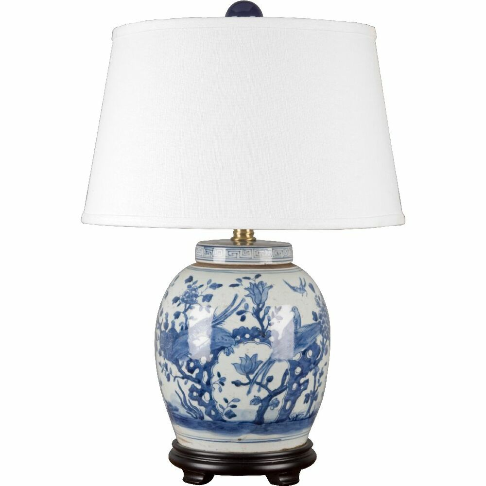 classic chinese blue and white porcelain oriental ginger jar lamp. Black Bedroom Furniture Sets. Home Design Ideas