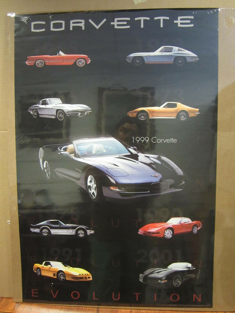Man Cave Posters For Sale : Vintage corvette evolution poster car garage man cave