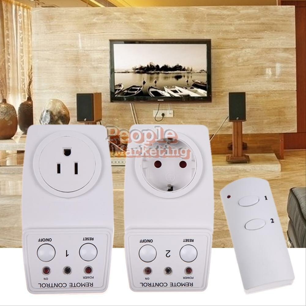 2 pack wireless remote control electric ac power outlet. Black Bedroom Furniture Sets. Home Design Ideas