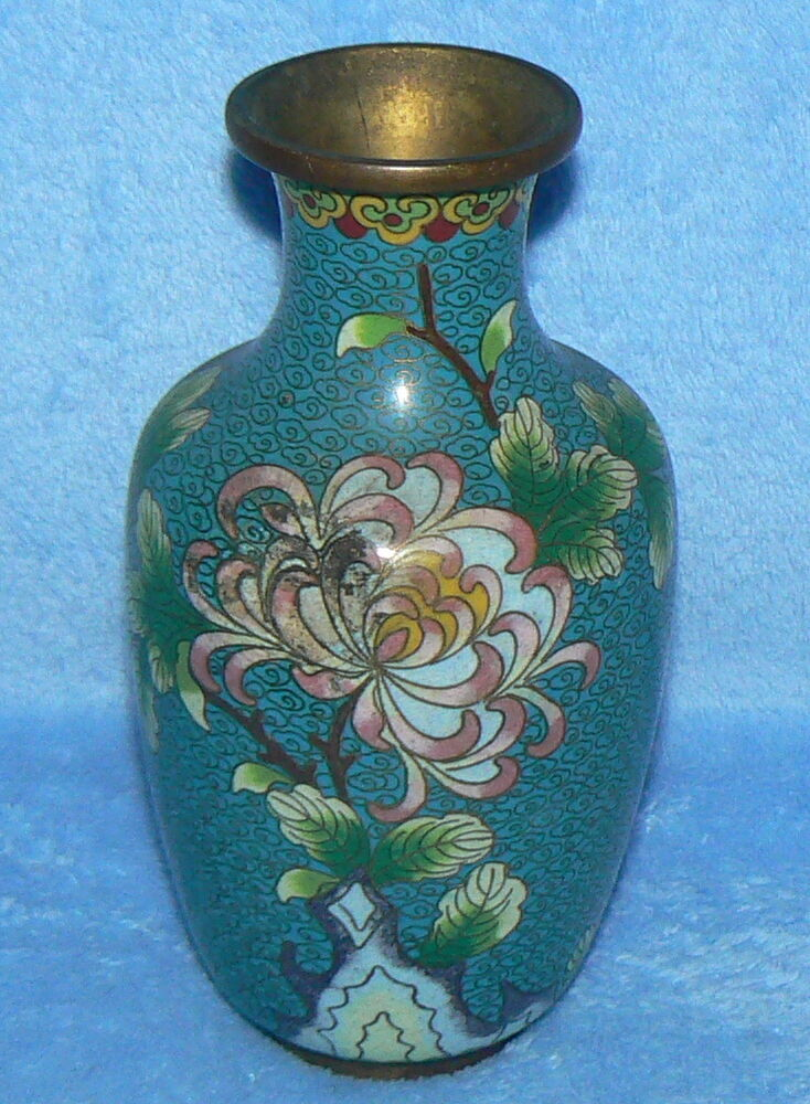 cloisonne vase decorative floral design 6 1 2 green blue gold flower leaves ebay. Black Bedroom Furniture Sets. Home Design Ideas
