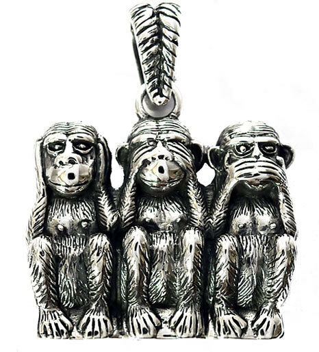 Big Three Wise Monkey 3 Apes Sterling 925 Silver Pendant Japanese ...
