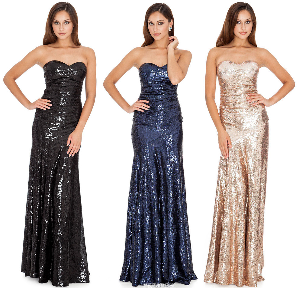 Goddiva Long Sequin Strapless Sweetheart Evening Maxi ...
