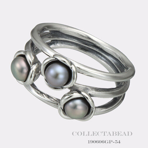 Pandora Grey Pearl Earrings: Authentic Pandora Silver Three Wishes Grey Pearl Ring Size
