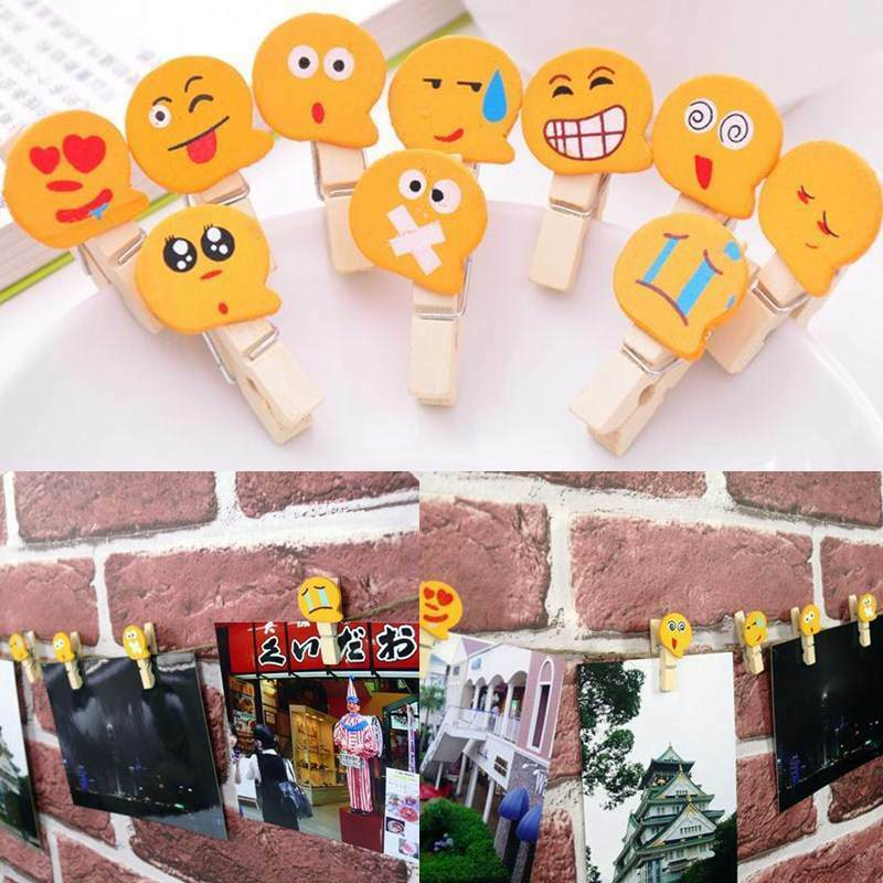 10pcs mini natural wood cartoon pegs clothes paper photo for Mini clothespin craft ideas