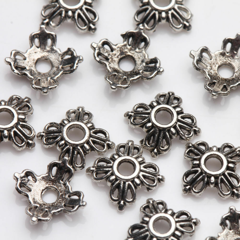 100pcs Tibet Silver Flower Spacer Bead Caps Jewelry