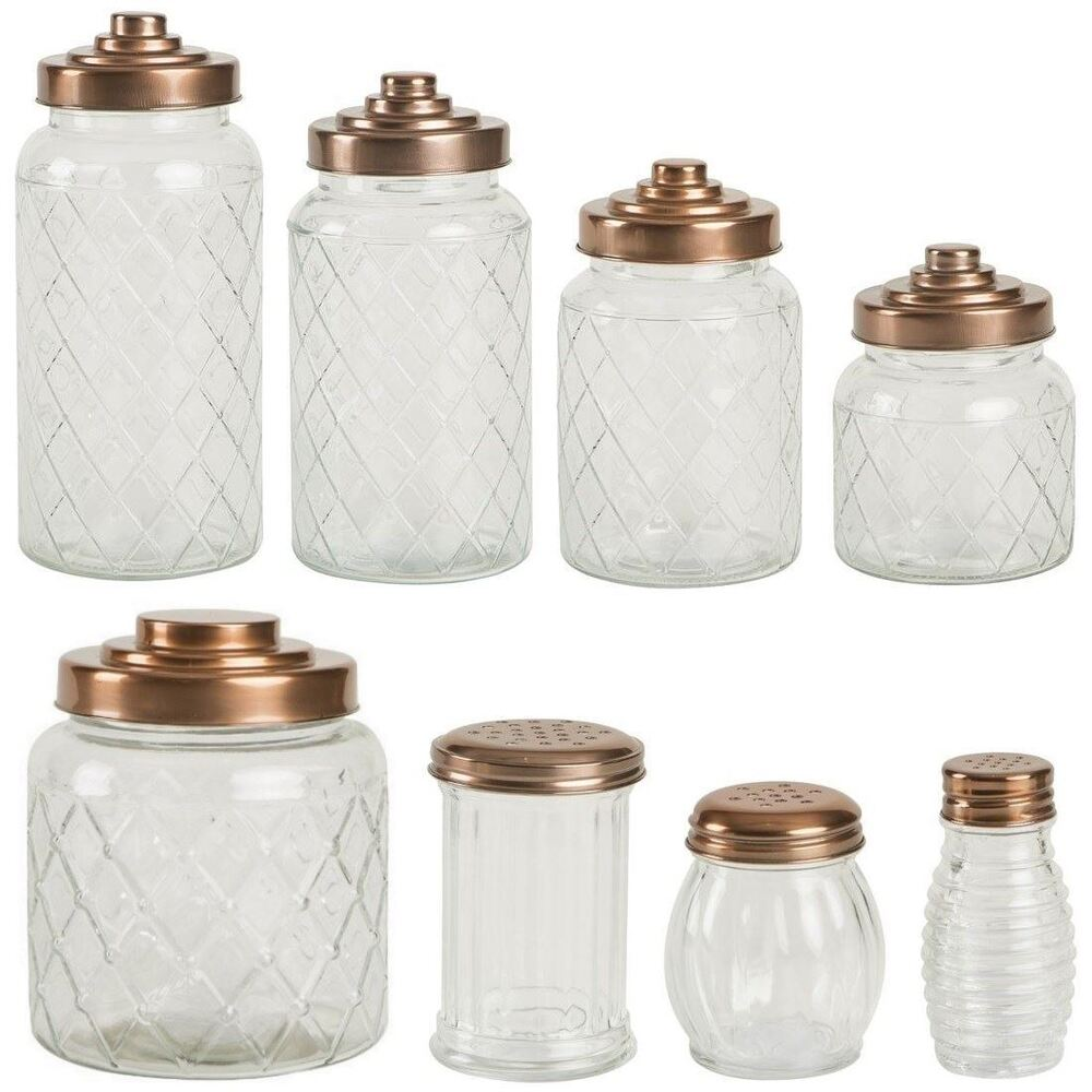 T G Patterned Glass Storage Jars With Copper Finish Lids