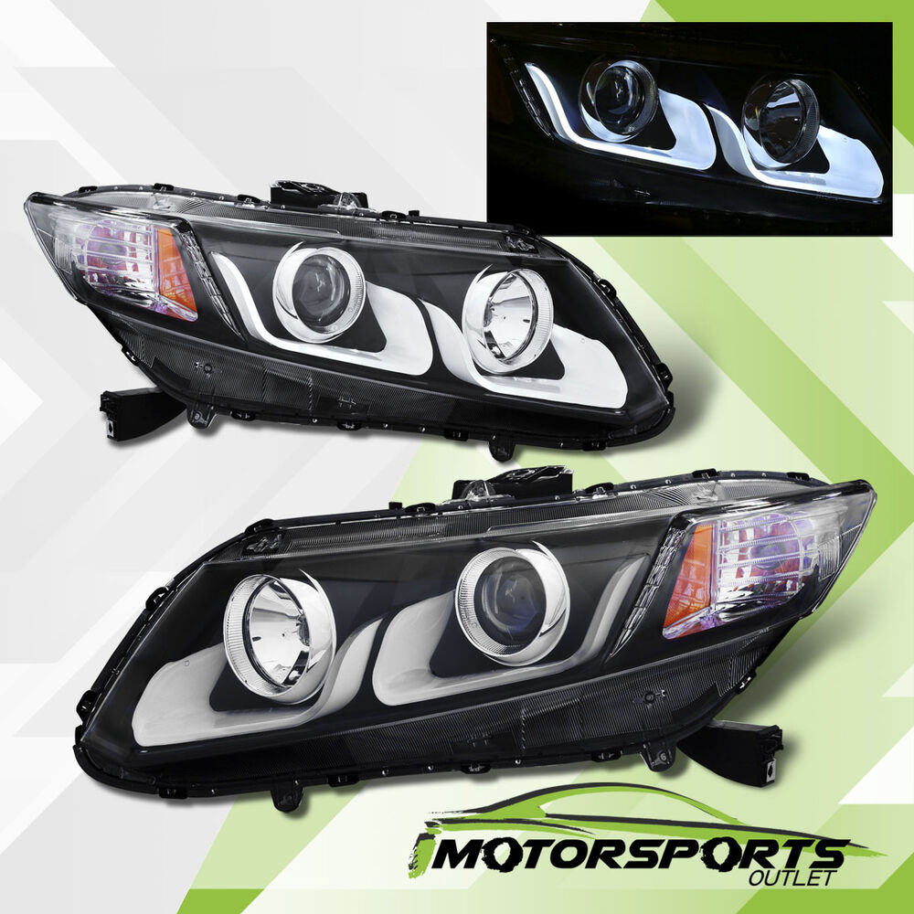 Led U Bar 2012 2013 2014 2015 Honda Civic 2 4dr Projector Black Headlights Set Ebay