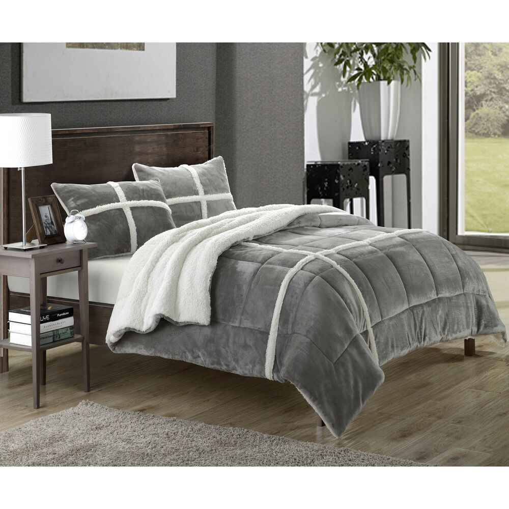 Chic Home Chiron Sherpa Lined Plush Microsuede 3 Piece