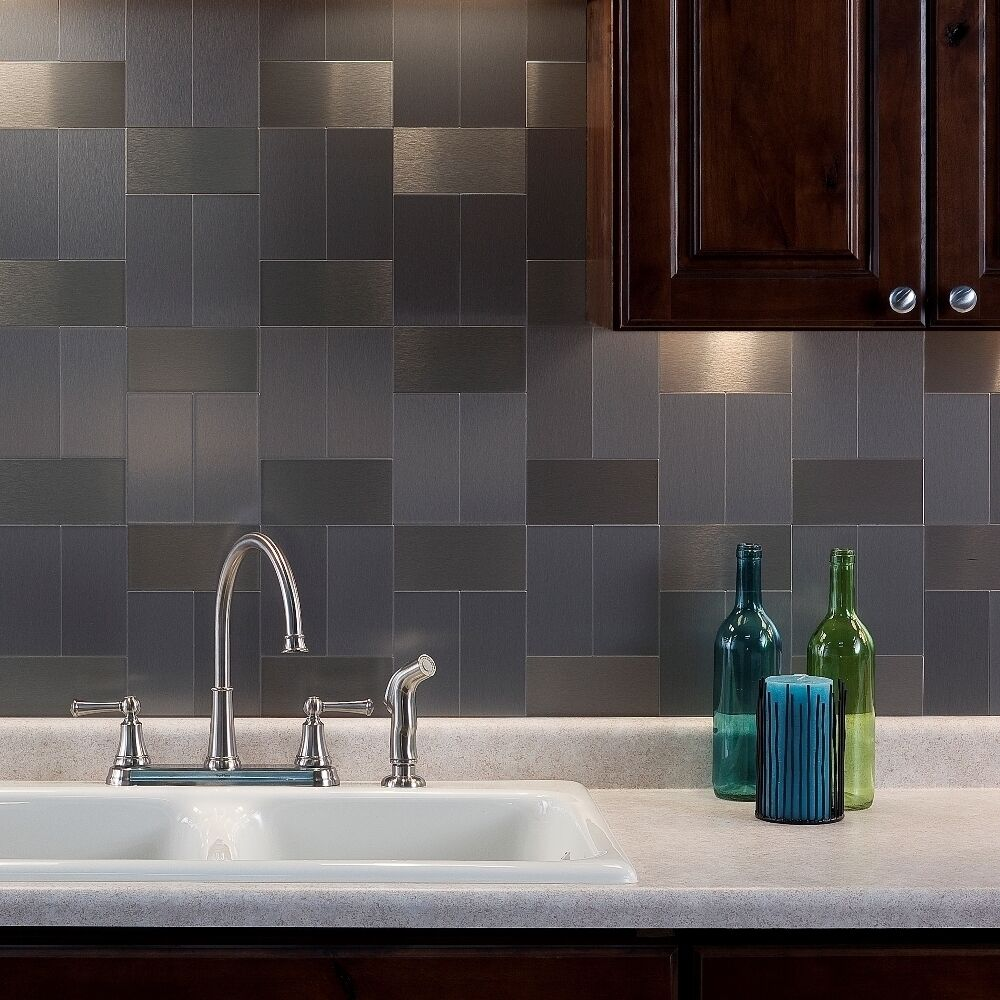 Aspect 3x6 inch brushed stainless long grain metal tile 8 Kitchen backsplash ideas stainless steel
