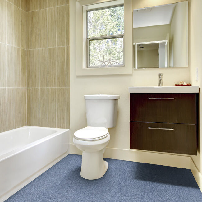 Carpet In A Bathroom: Olefin Wall To Wall Plush Bathroom Carpet (5x6)