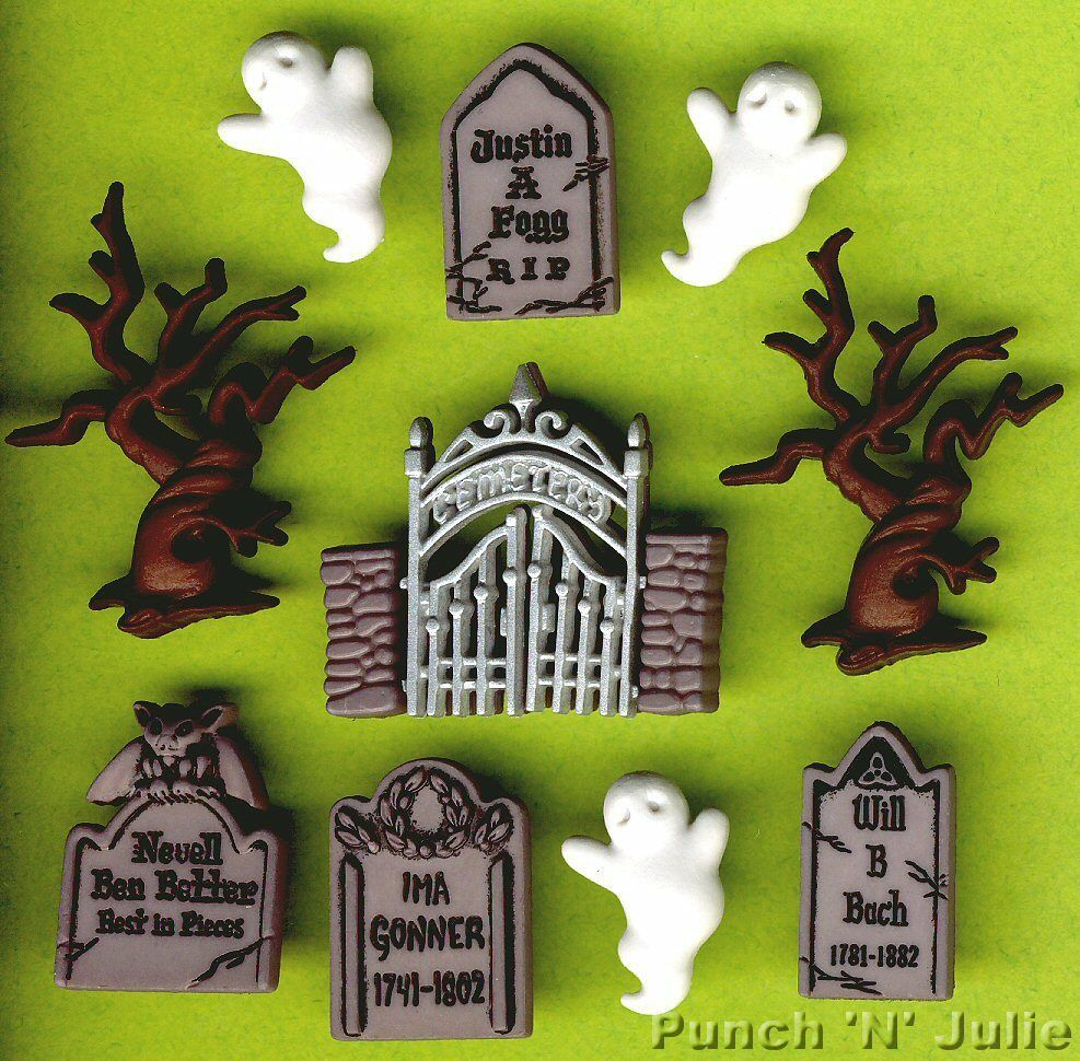 graveyard ghosts tree gravestone gate haunted cemetery halloween craft buttons ebay. Black Bedroom Furniture Sets. Home Design Ideas