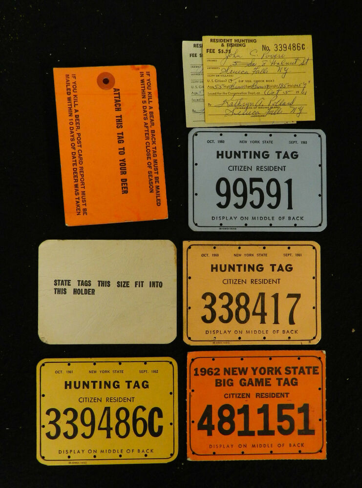 1960s hunting fishing new york state license tags lot for New york fishing license online