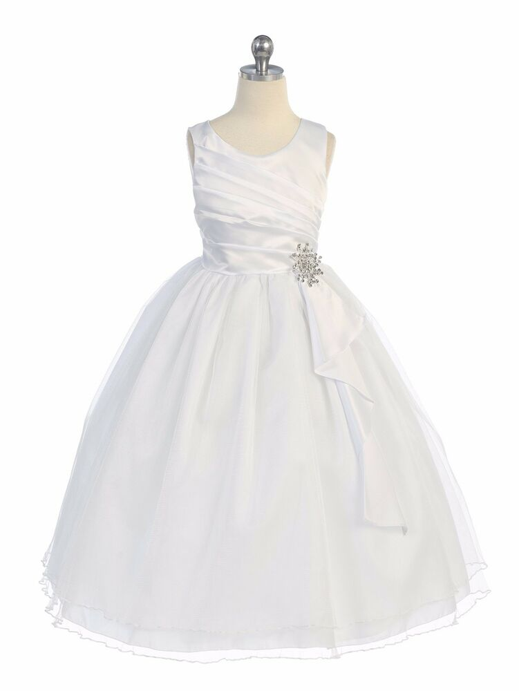 New flower girls white dress party pageant wedding for Sell your wedding dress online for free