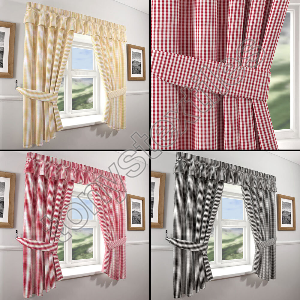 GINGHAM CHECK KITCHEN CURTAINS & TIE BACKS RED CREAM BEIGE BLACK FREE TIE BACK