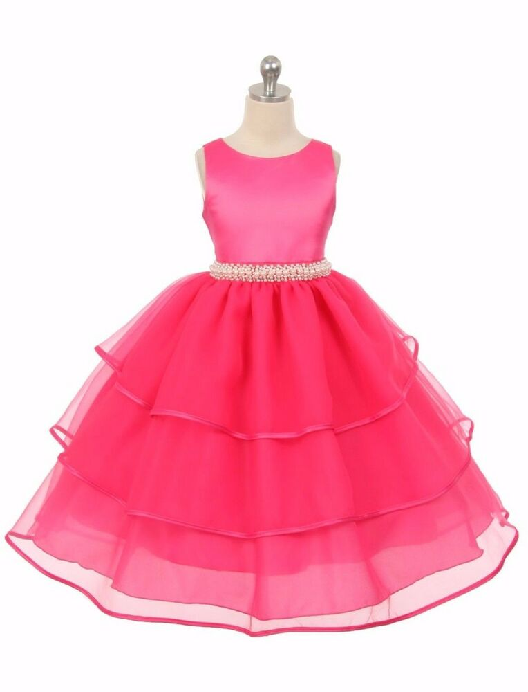 New flower girl fuchsia dress wedding pageant party christmas formal