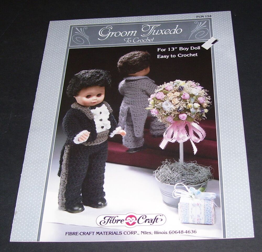 Fibre craft 1988 groom tuxedo 13 inch doll crochet pattern for Fibre craft 18 inch doll