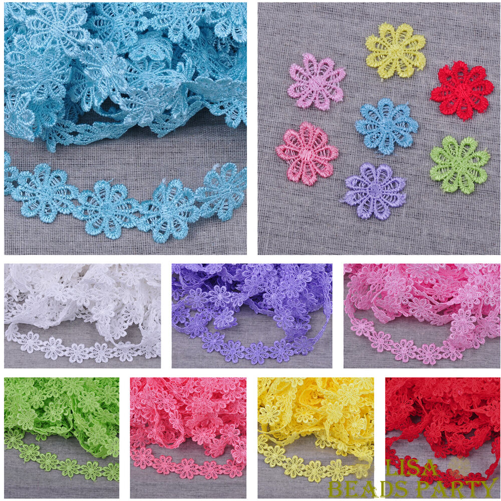 Wholesale 5yards lace embroidered charm fabric flower for Cheap sewing fabric