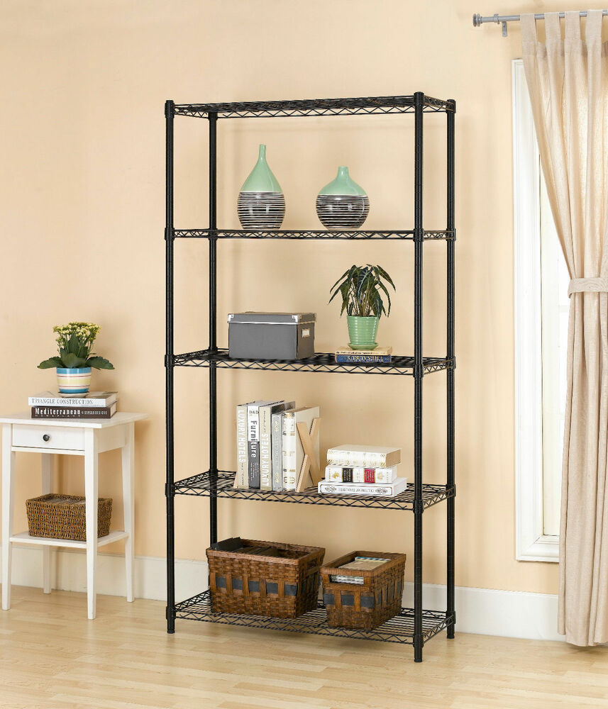Kitchen Shelf Metal: 5-Shelf Storage Rack Garage Kitchen Home Office Steel Wire