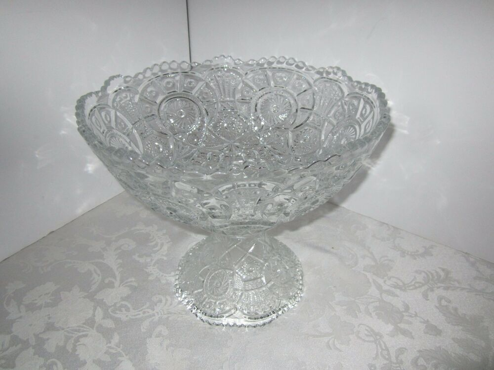 Cut Glass Punch Bowl On Stand
