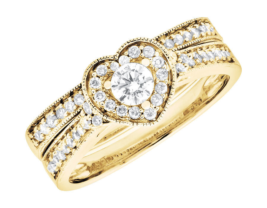 14k yellow gold milgrain heart shaped diamond engagement