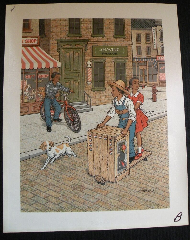 C Carson Serigraph Oil Painting African American Children