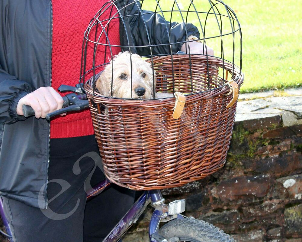Full Wicker Bicycle Dog Bike Basket Cat Puppy Small Pet