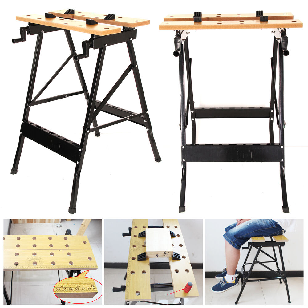 Foldable Workbench Portable Wood Bench Work Clamping