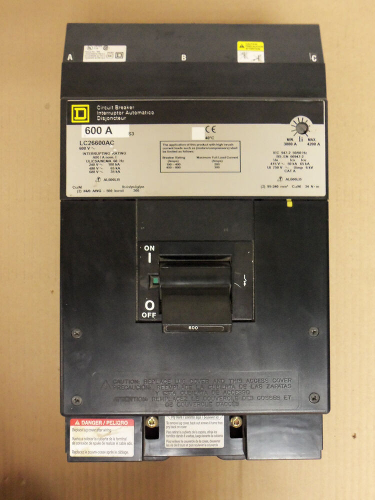 square d lc 2 pole 600 amp 600v lc26600ac circuit breaker gray label ebay. Black Bedroom Furniture Sets. Home Design Ideas