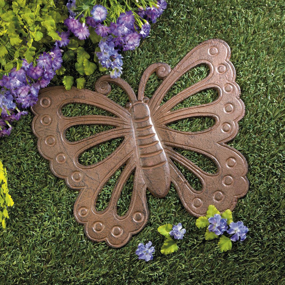 """BUTTERFLY rustic vintage 14"""" CAST IRON outdoor Garden stepping stone ..."""