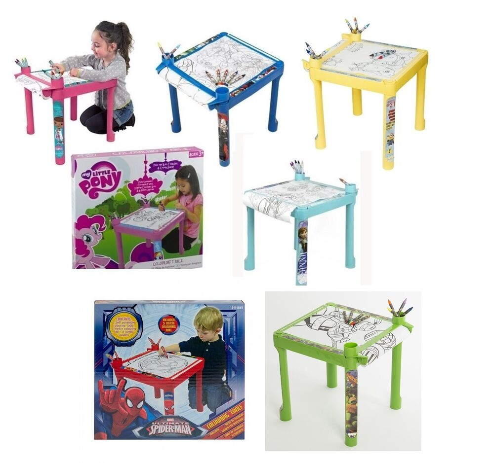 Kids Colouring Drawing Table Desk Paper Crayons Children