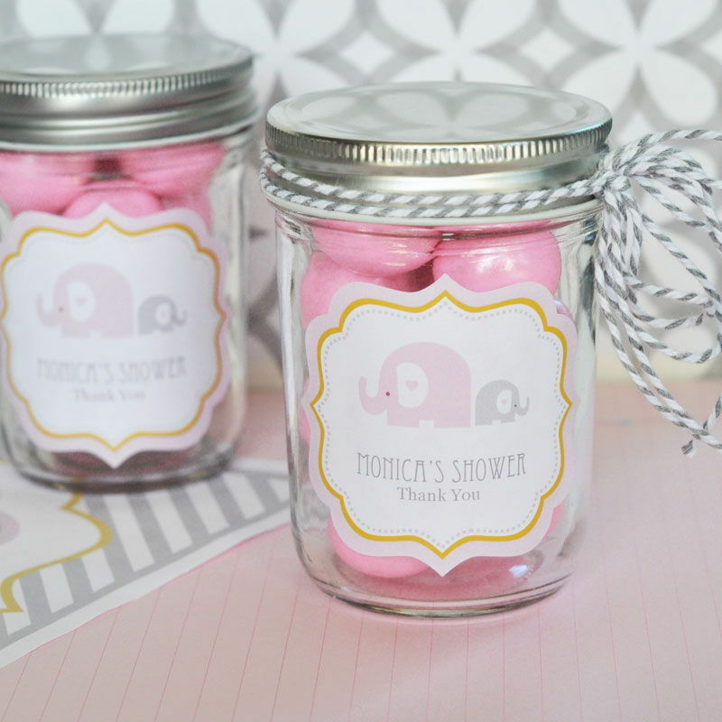 24 Personalized Pink Elephant Theme Mini Mason Jars Baby Shower Favors